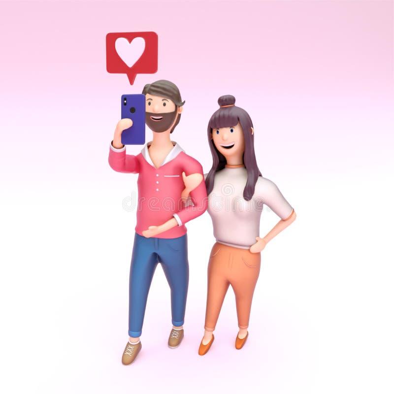 Jeunes couples prenant le selfie ensemble, l'amour ou comme l'émoticône illustration de vecteur