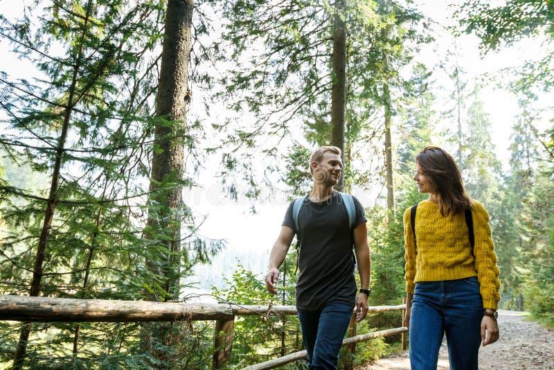 Jeunes couples regardant l'un l'autre, marchant dans la forêt de ` de montagnes photographie stock libre de droits