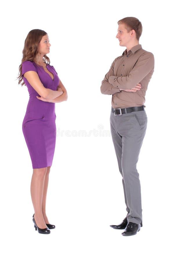 Jeunes couples regardant l'un l'autre plus de images stock