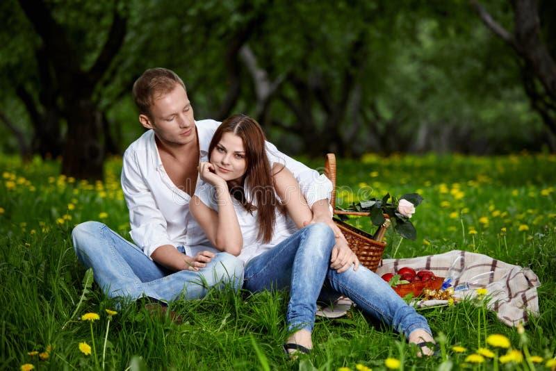 Jeunes couples sur le pique-nique photos stock