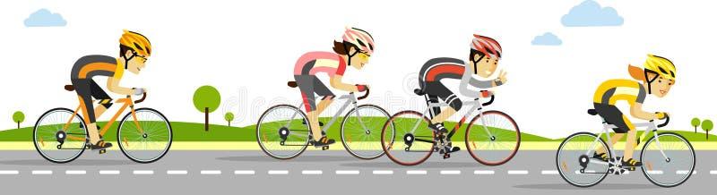 Jeunes cyclistes de emballage sur des vélos dans le style plat illustration stock
