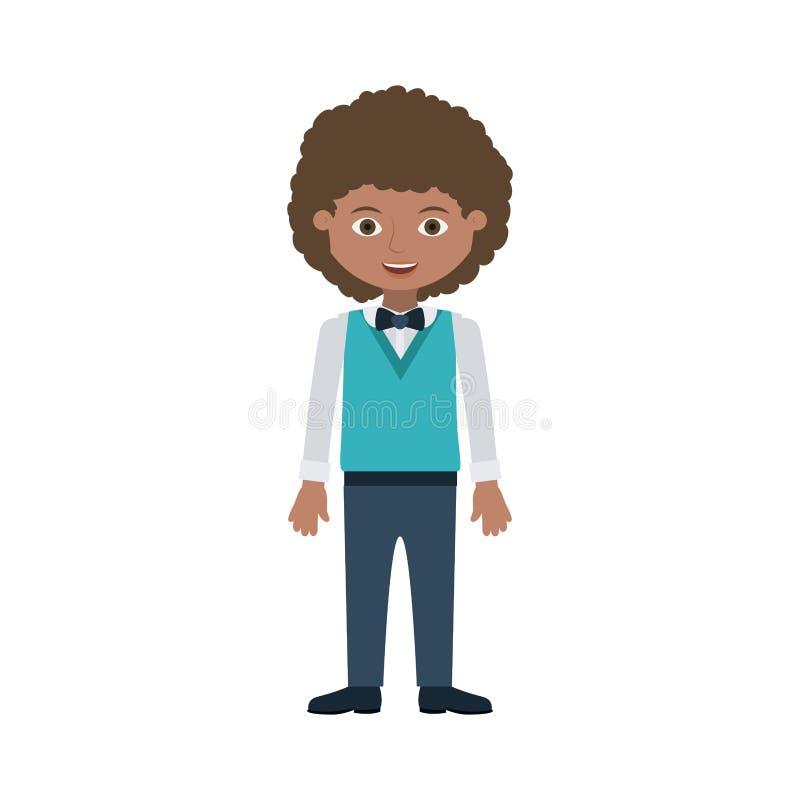 Jeunes d'homme avec le costume formel de cheveux onduleux illustration libre de droits