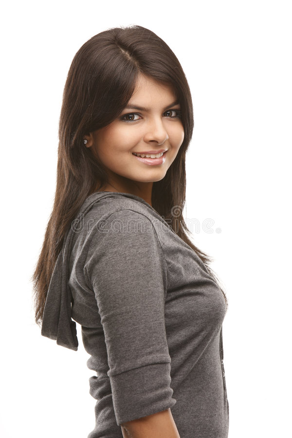 jeunes de côté de maintien de fille image libre de droits