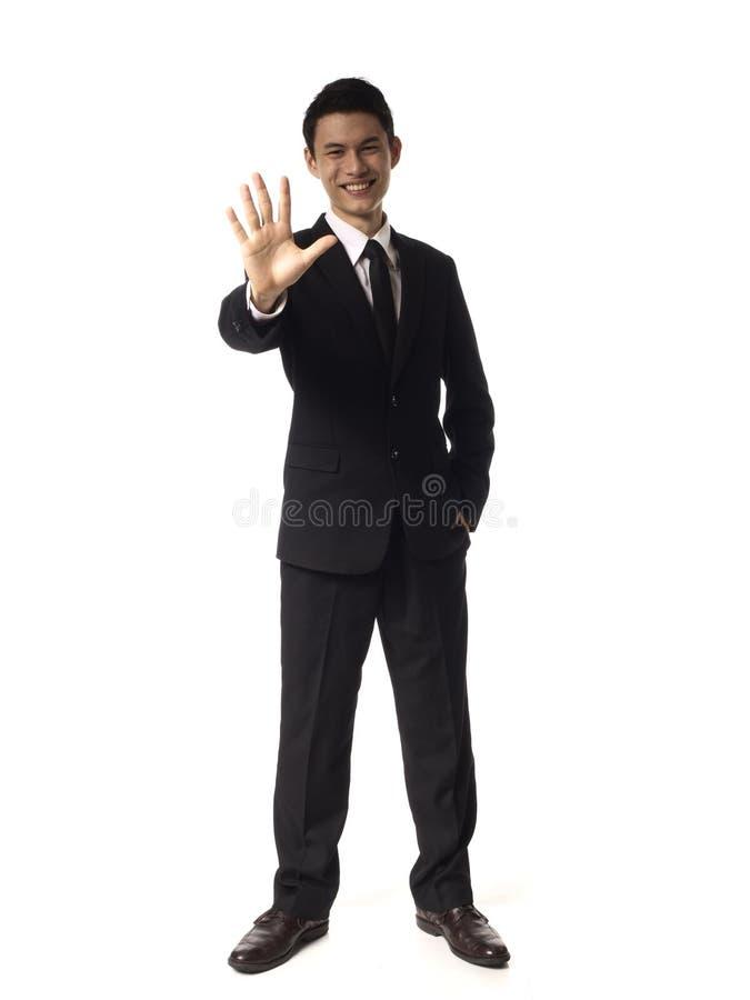 Jeunes doigts de corporation asiatiques de l'homme cinq photographie stock