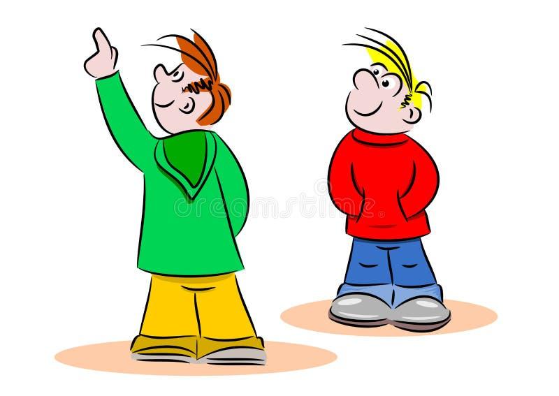 Jeunes enfants de bande dessinée se dirigeant et regardant illustration de vecteur