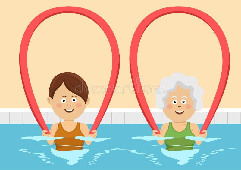 Jeunes et femmes agées employant des nouilles de piscine dans la piscine illustration libre de droits