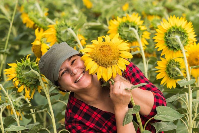 Jeunes exploitants agricoles examinant la culture des tournesols dans les domaines pendant le résumé photographie stock libre de droits