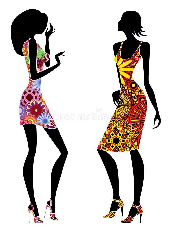 Jeunes femmes élégantes minces dans des robes fleuries courtes illustration libre de droits