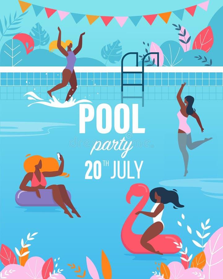 Jeunes femmes ayant l'amusement à la réception au bord de la piscine de natation illustration libre de droits