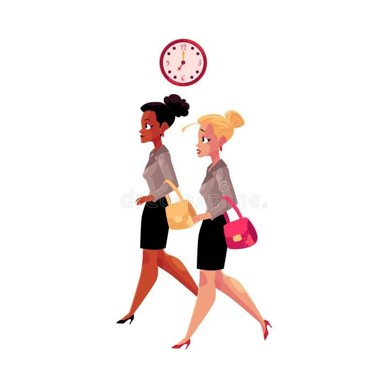 Jeunes femmes d'affaires, noir et Caucasien, se dépêchant pour travailler dans le matin illustration de vecteur