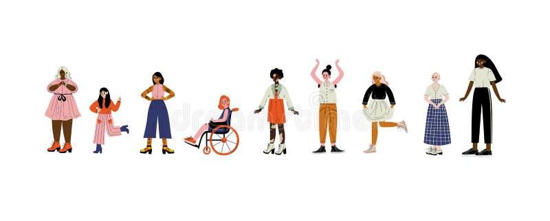Jeunes femmes de différents aspects réglés, personnages féminins aimant leur corps, acceptation d'individu, diversité de beauté,  illustration stock