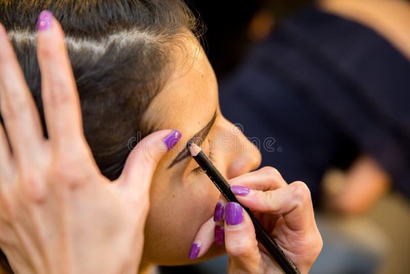 Jeunes femmes faisant le maquillage, old-fashioned backstage photographie stock