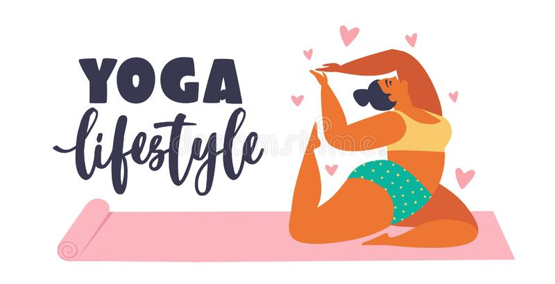 Jeunes femmes plus de taille faisant la forme physique, yoga, fente en avant Illustration de soins de santé de mode de vie d'amou illustration stock