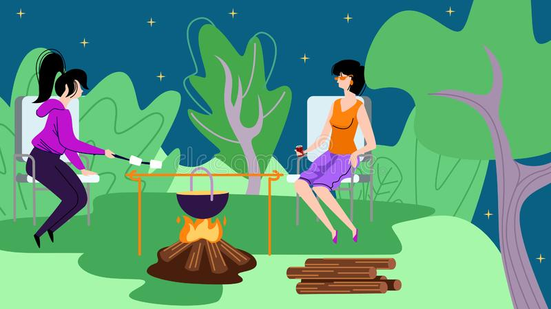 Jeunes femmes s'asseyant dans la colonie de vacances près du feu de camp illustration libre de droits