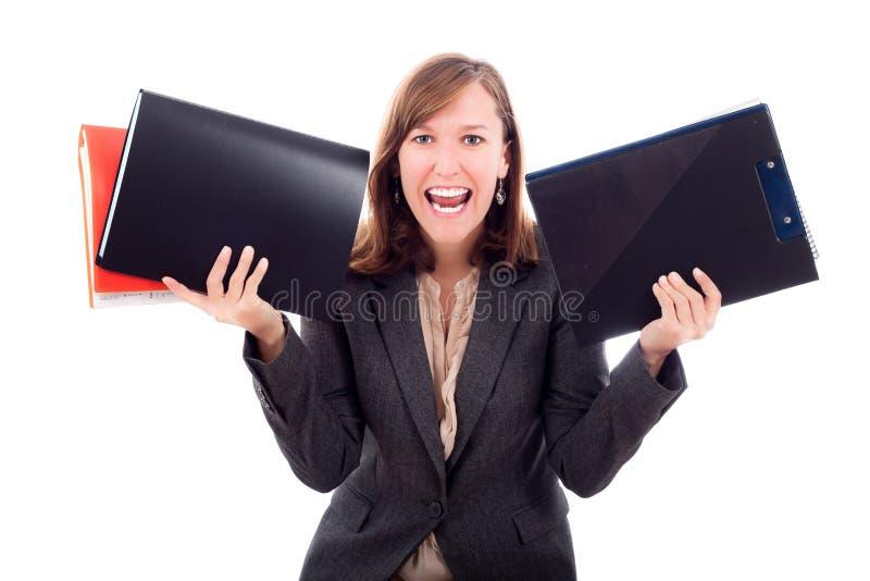 Jeunes fichiers de recopie Excited de femme d'affaires image stock
