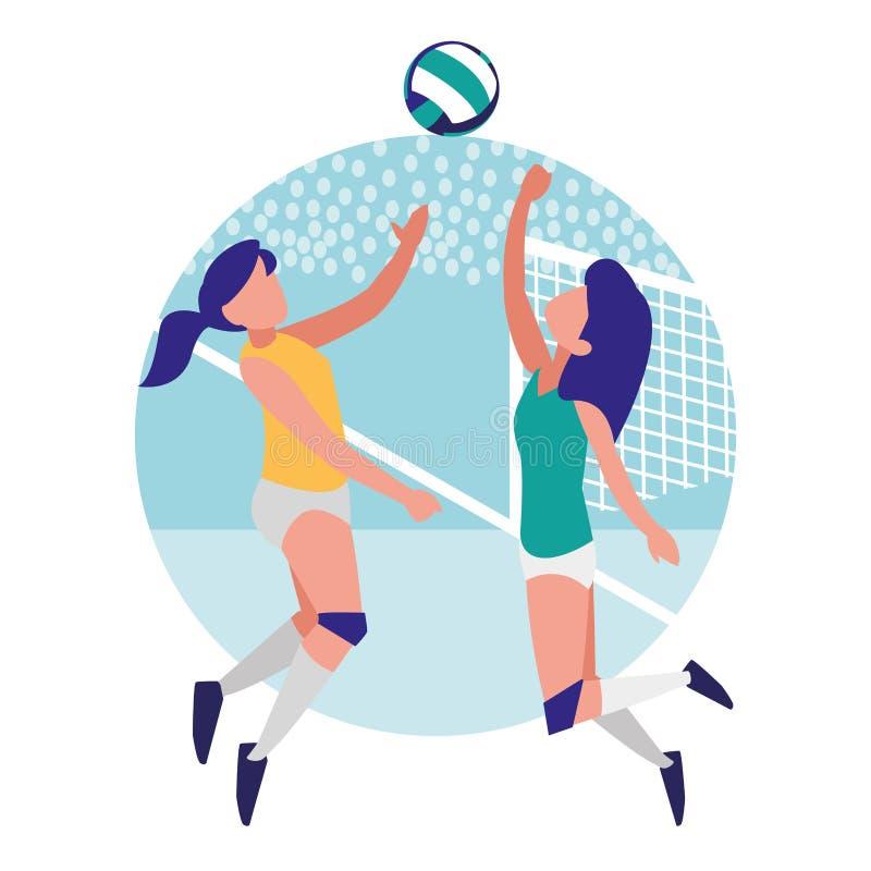 Jeunes filles jouant au volleyball illustration de vecteur