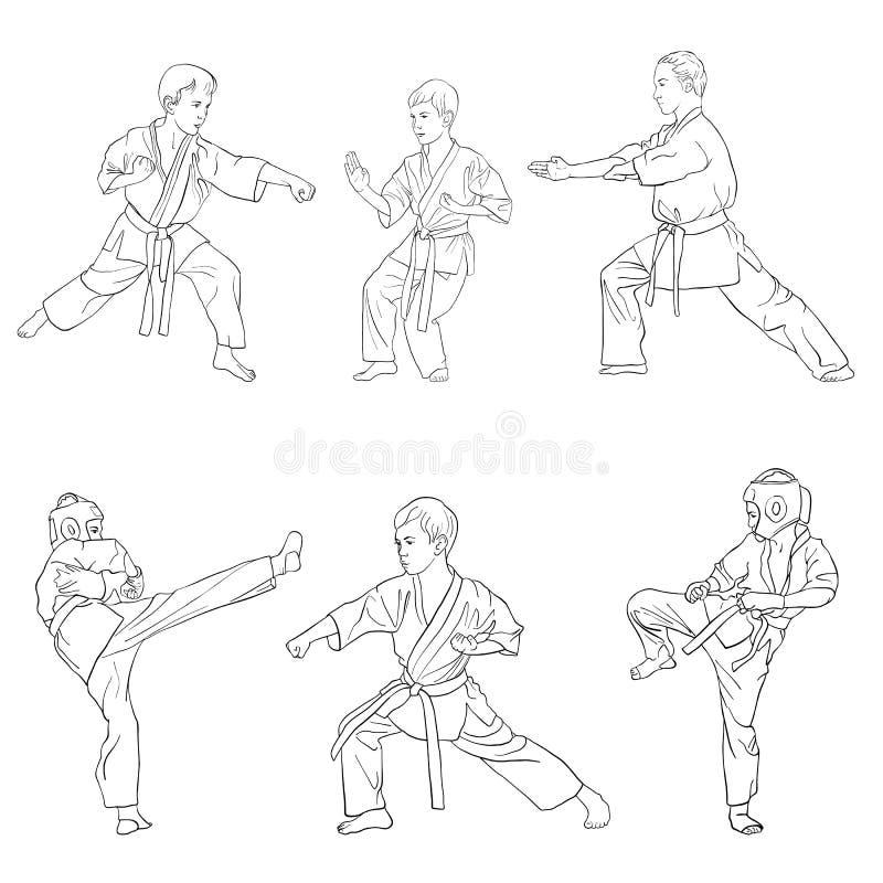 Jeunes garçons de karaté illustration de vecteur