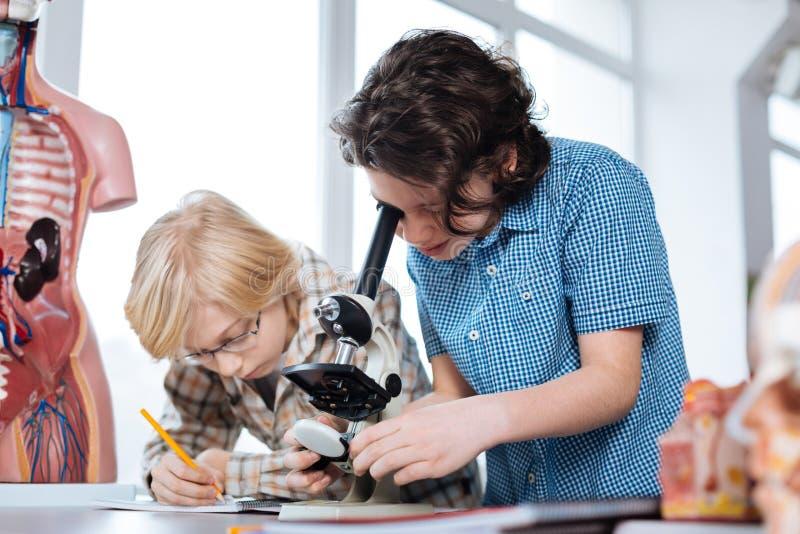 Jeunes garçons persistants étudiant la biologie images libres de droits