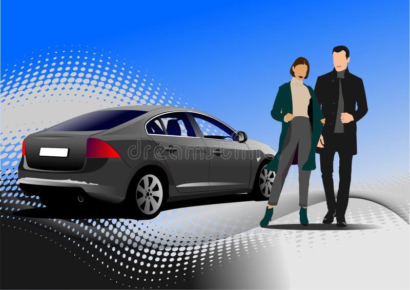 Jeunes homme et femme beaux Homme d'affaires Berline de voiture Illustration de vecteur illustration stock