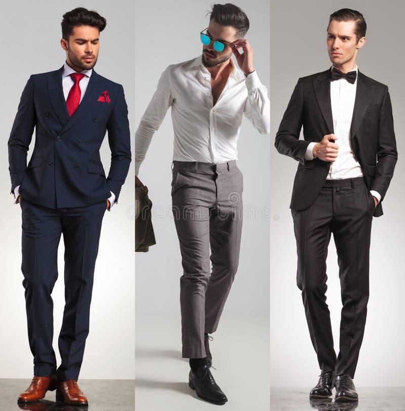 3 jeunes hommes élégants différents image stock