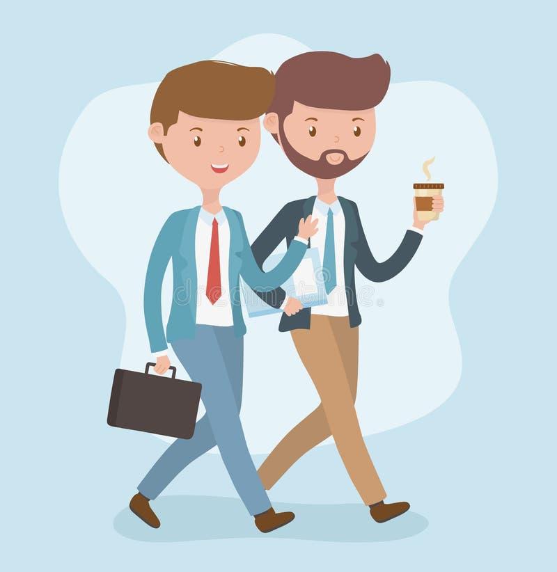 Jeunes hommes d'affaires marchant des caractères d'avatars illustration stock