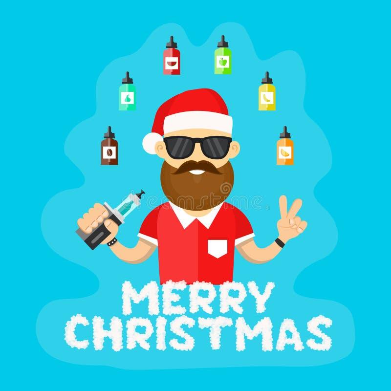 Jeunes hommes de hippie de Santa avec le vape Illustration plate de vecteur boutique vaping Lettres de nuage Joyeux Noël illustration libre de droits