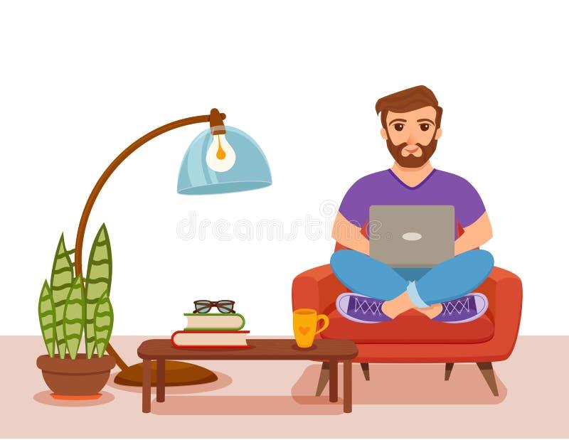 Jeunes hommes heureux d'indépendant travaillant au sofa dans le salon à la maison illustration de vecteur