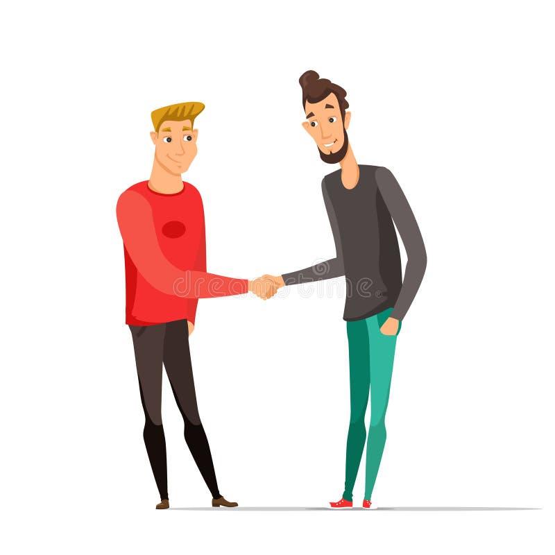 Jeunes hommes se serrant la main l'illustration de vecteur de couleur illustration de vecteur