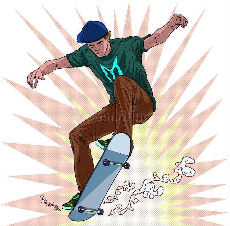 Jeunes hommes skateboard fun Illustration vectorielle On pop art comics style Abstract Point fond illustration stock