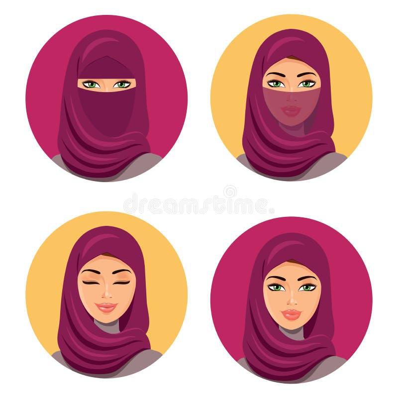 Jeunes icônes arabes de femme de belle mode réglées Placez quatre filles arabes dans différentes coiffes traditionnelles D'isolem illustration libre de droits