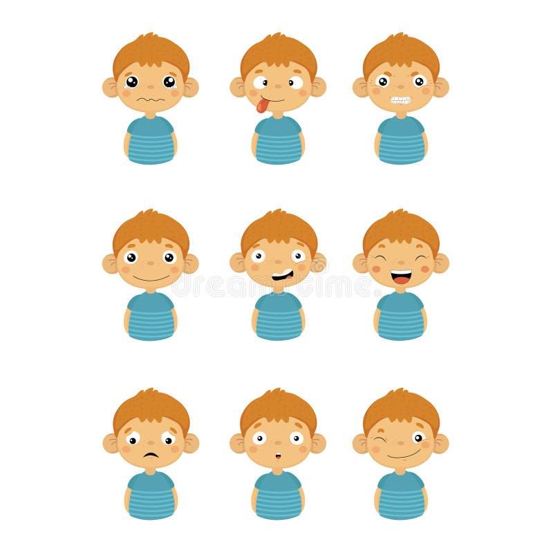Jeunes icônes de portrait de garçon avec différentes émotions illustration libre de droits