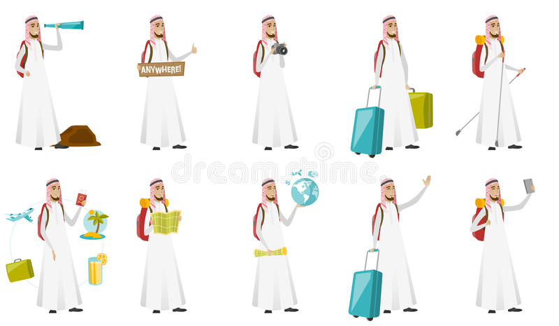 Jeunes illustrations musulmanes de vecteur d'homme de voyageur réglées illustration libre de droits
