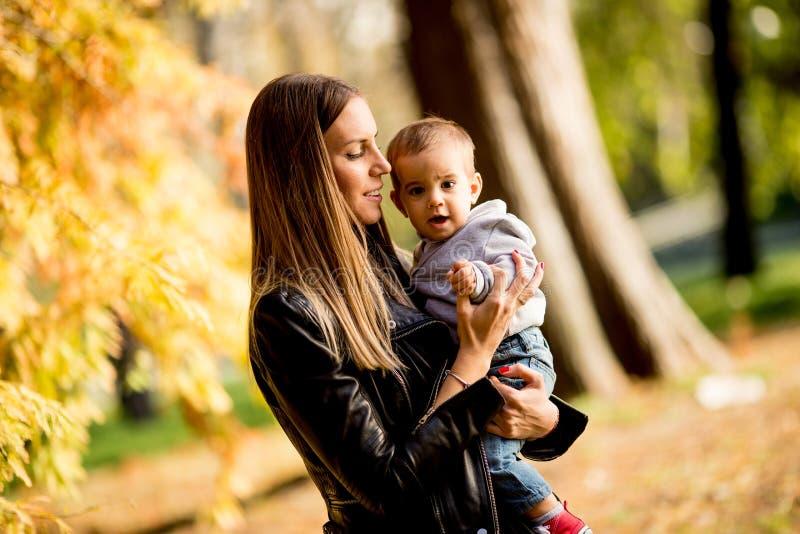 Jeunes mère et bébé garçon en parc d'automne images libres de droits