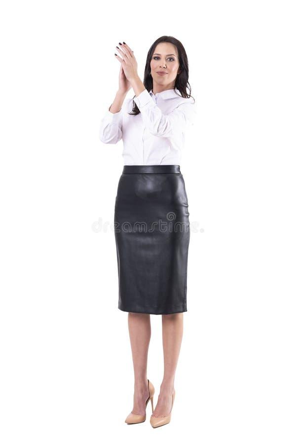 Jeunes mains de applaudissement de femme d'affaires applaudissant et encourageant regardant la cam?ra concept de f?licitation image libre de droits