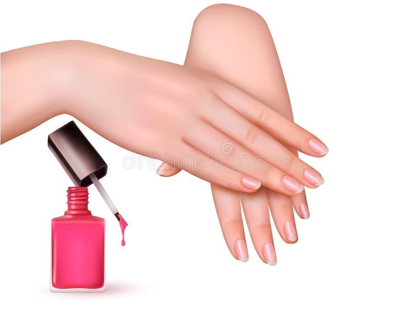Jeunes mains femelles avec une bouteille rose de vernis à ongles illustration libre de droits