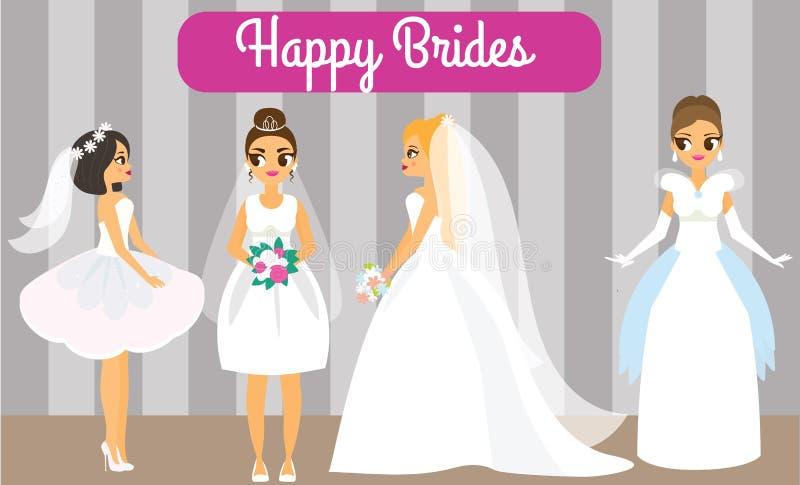Jeunes mariées de bande dessinée Femelles heureuses dans des robes de mariage à la mode Femmes attirantes de fiancée illustration libre de droits