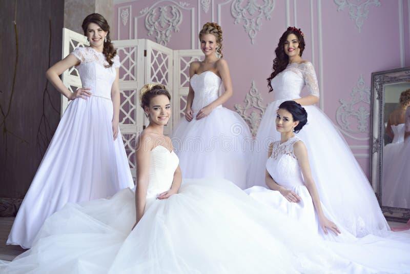 Jeunes mariées de beauté dans des robes de mariée à l'intérieur photo stock