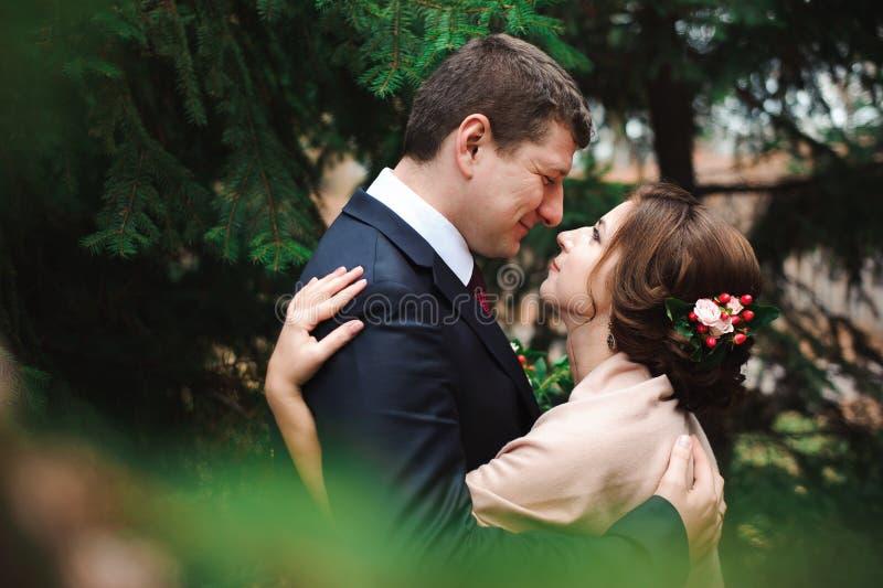 Jeunes mariés étreignant dans une forêt dans la forêt d'automne, épousant la promenade photographie stock libre de droits