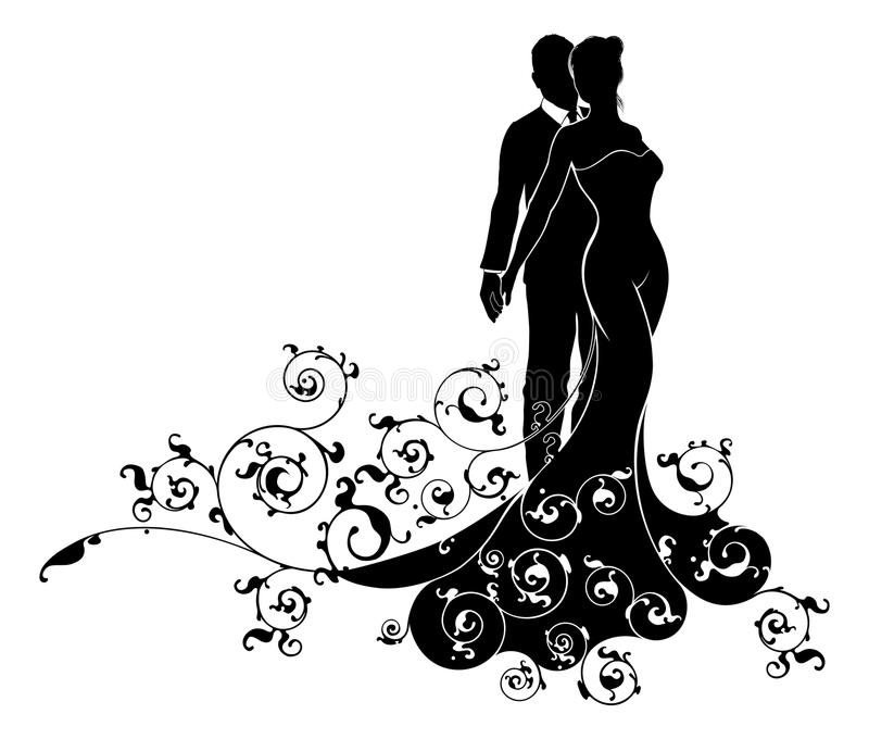 Jeunes mariés abstraits Wedding Silhouette illustration libre de droits