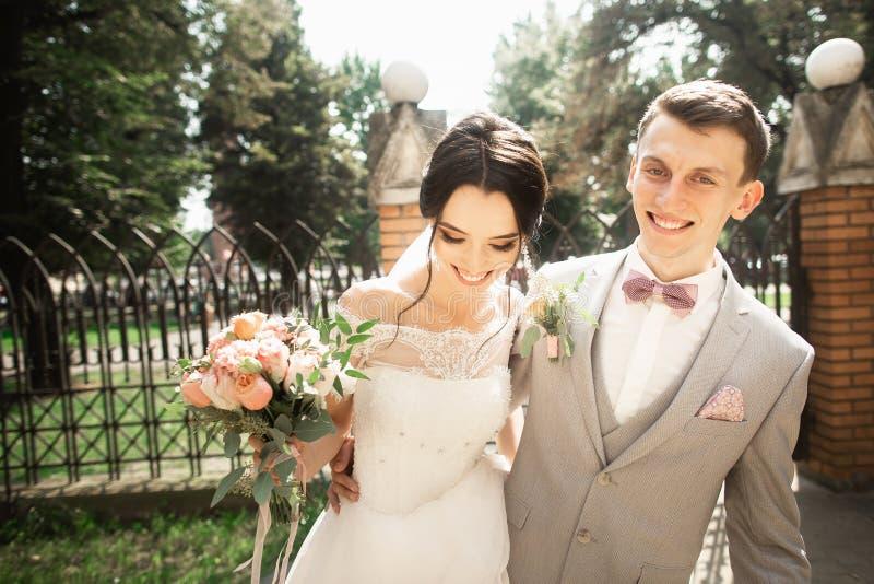 Jeunes mariés au jour du mariage marchant en beau parc, s'amusant photo stock