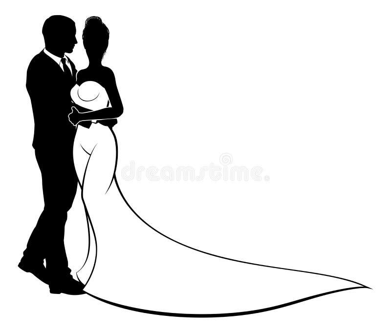 Jeunes mariés Couple Wedding Silhouette illustration libre de droits