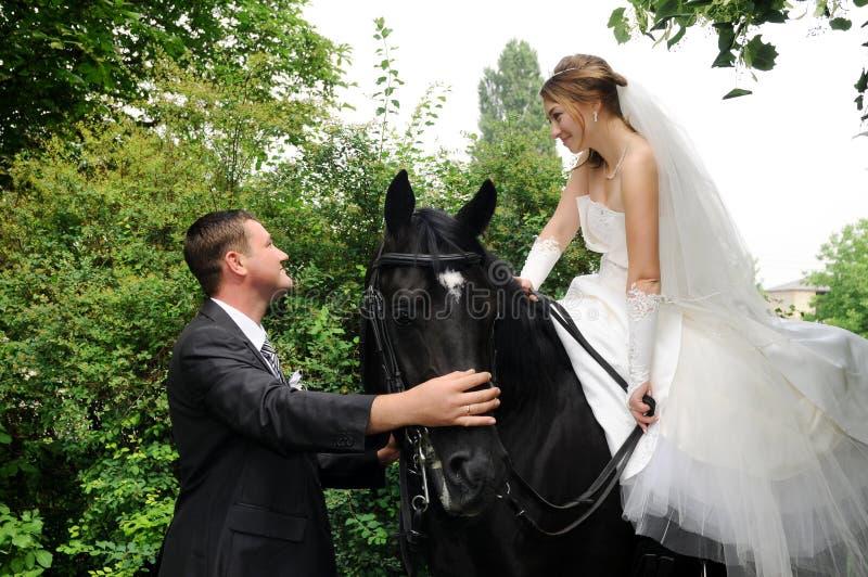 Jeunes mariés de mariage à cheval photographie stock libre de droits