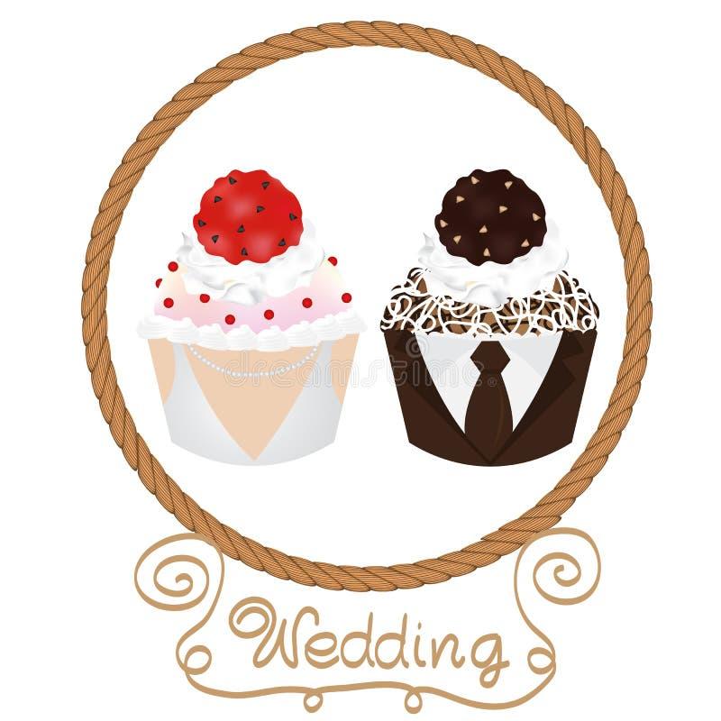 Jeunes mariés de petits gâteaux de mariage illustration stock