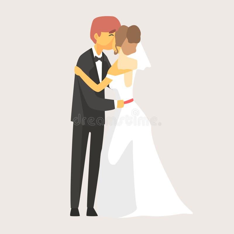 Jeunes mariés embrassant à la cérémonie de mariage Personnage de dessin animé coloré de couples romantiques illustration de vecteur