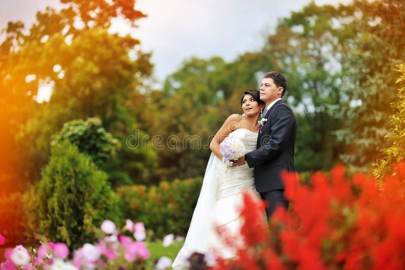 Jeunes mariés en parc - portrait extérieur photos libres de droits