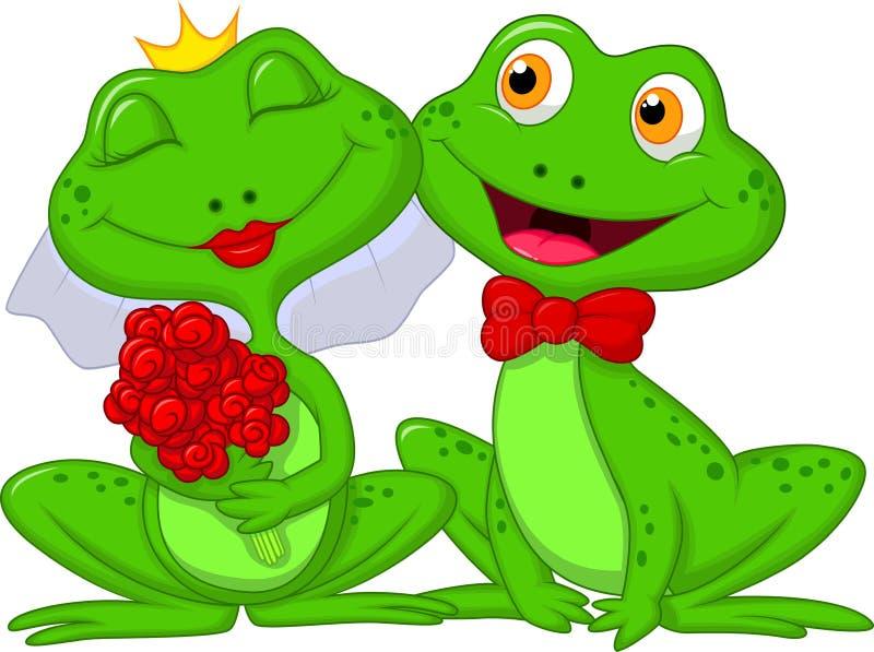 Jeunes mariés Frogs Cartoon Characters illustration stock