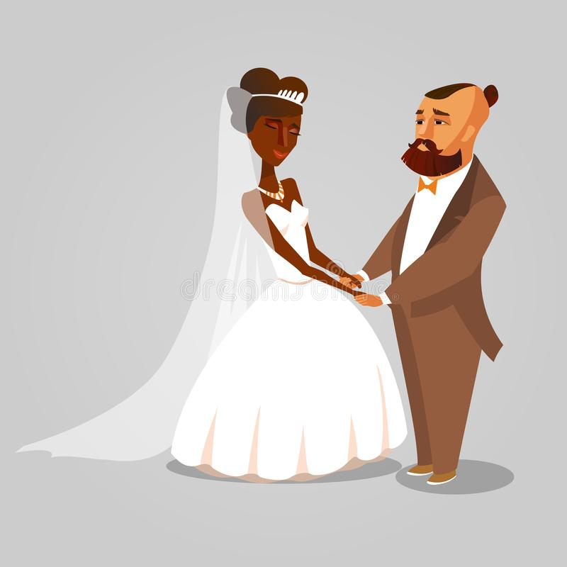 Jeunes mariés, illustration de bande dessinée de nouveaux mariés illustration libre de droits
