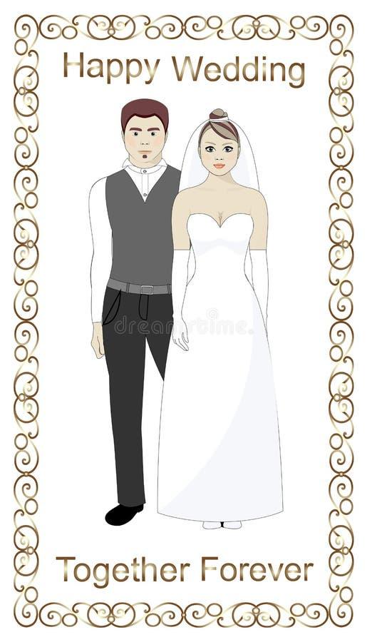 Jeunes mariés, mariage, cadre d'or illustration stock