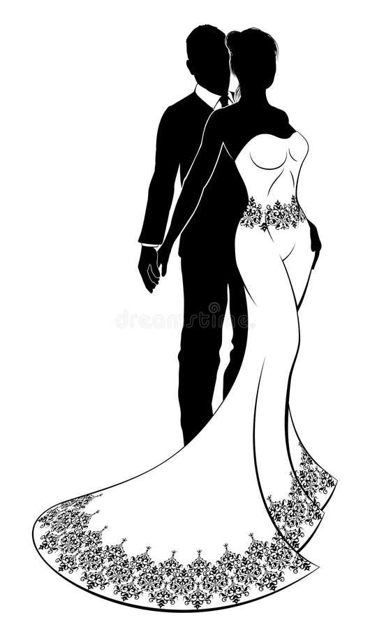 Jeunes mariés Wedding Couple de silhouette illustration libre de droits