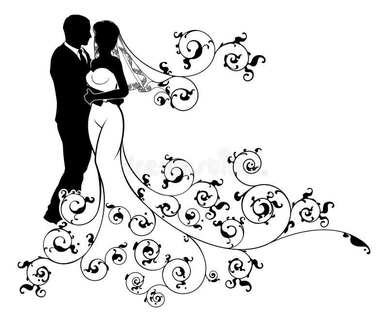 Jeunes mariés Wedding Couple Silhouettes illustration stock